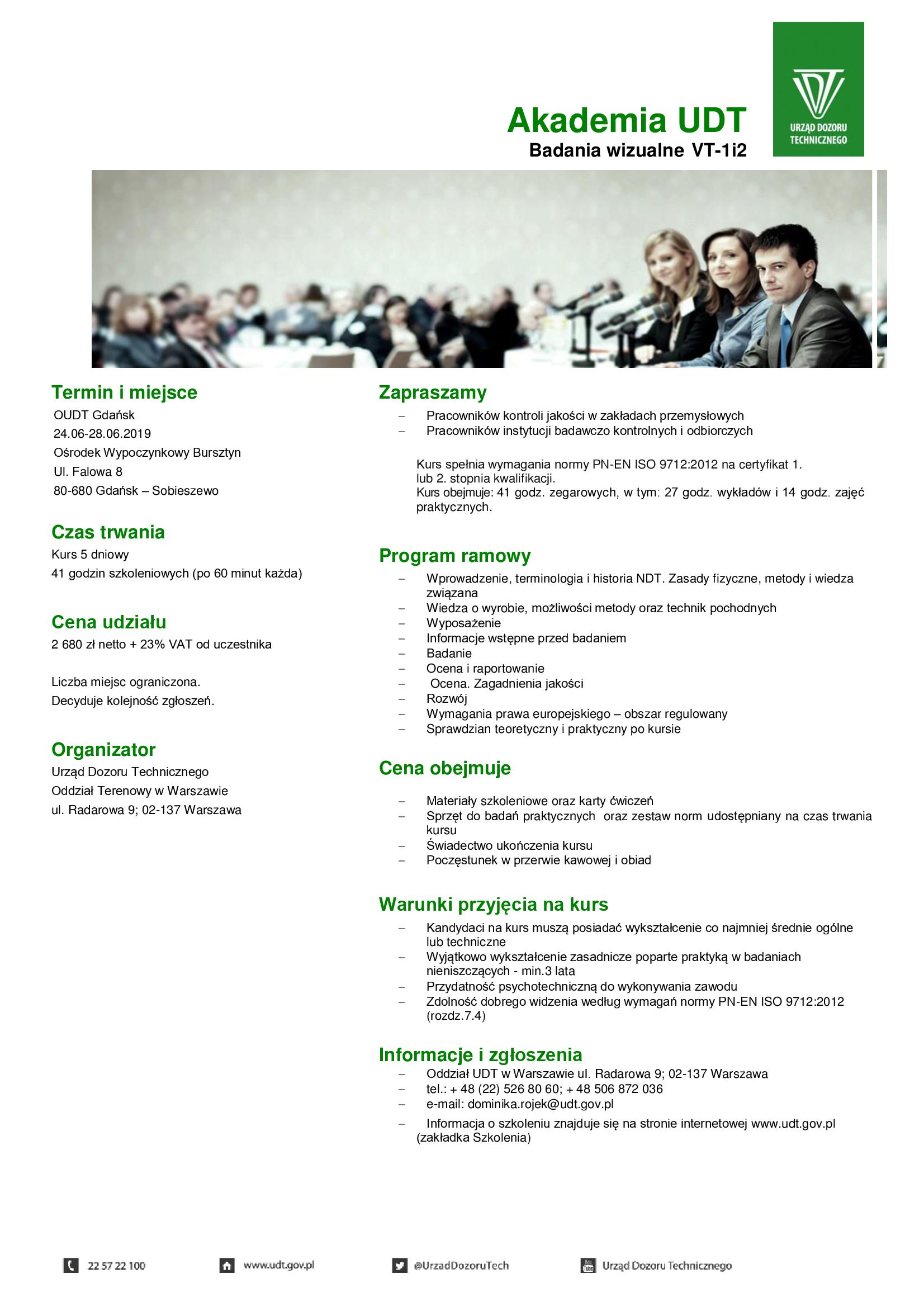 Najnowsze Urząd Dozoru Technicznego - Najbliższe szkolenia JP84
